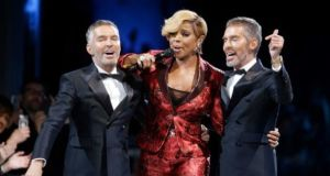 May J Blige and Dan and Dean Caten at Milan Mens Fashion Week